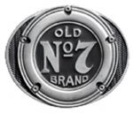 Jack Daniels Old No.7 Gas Petrol Cap Belt Buckle with display stand. Product code WB7
